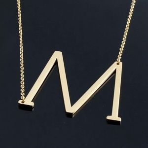 """Lucy"" Letter M Gold Single Inital Necklace"